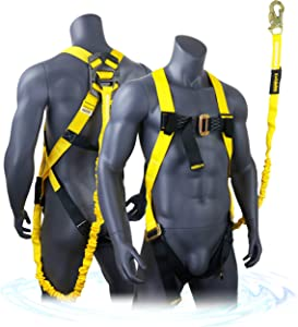 KwikSafety (Charlotte, NC) SCORPION Safety Harness w/attached 6ft. Tubular Lanyard on back | OSHA ANSI Fall Protection | INTERNAL Shock Absorbing Lanyard | Construction Carpenter Scaffolding