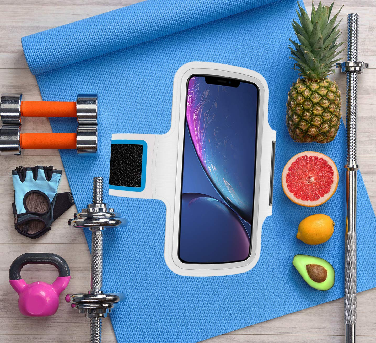 Rosa Brazalete Deportivo movil Compatible con Samsung Galaxy A70 Running Deporte Funda Banda Deportiva Transpirable Bolsillo para Llaves Cables Auriculares Tarjetas
