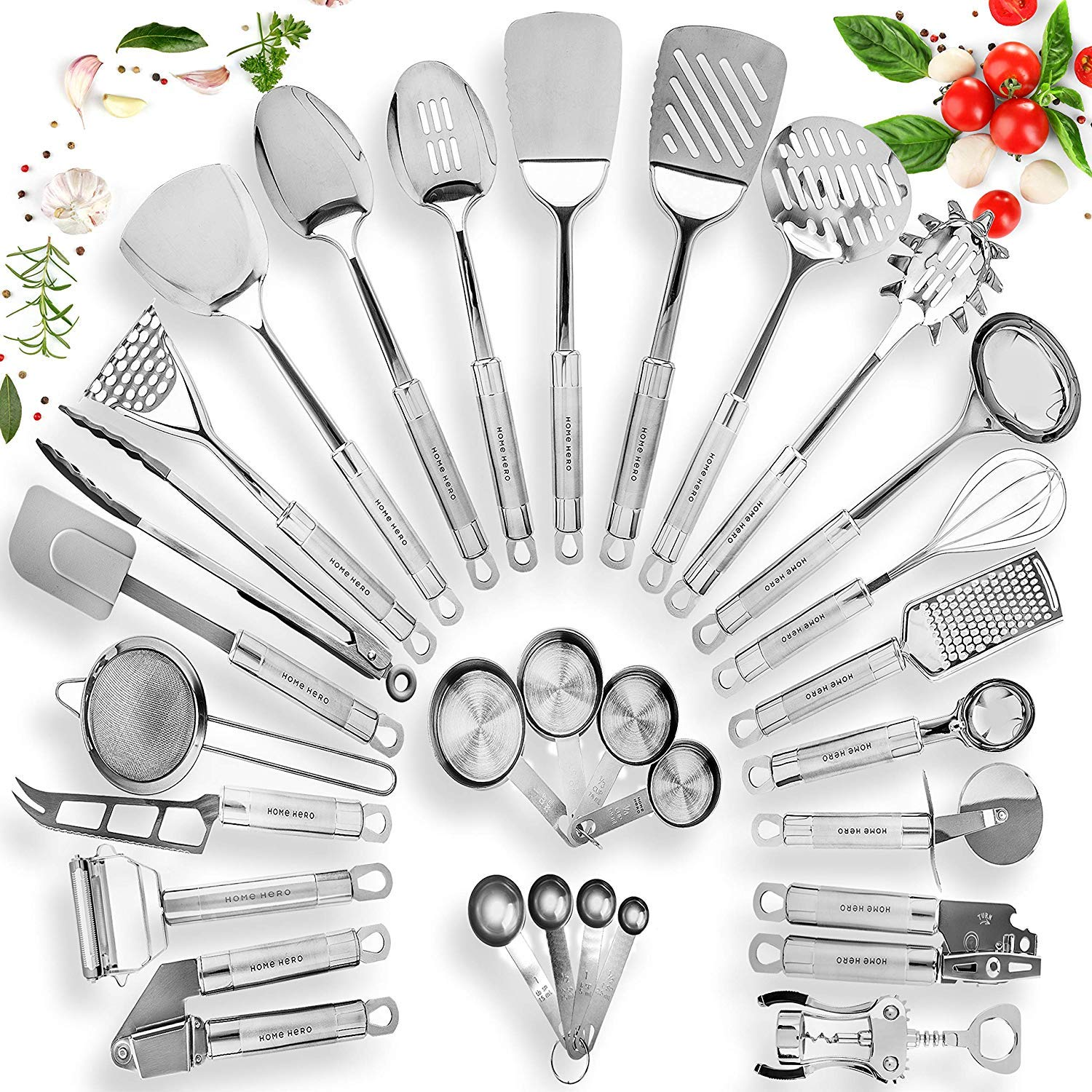 Home Hero Stainless Steel Kitchen Utensil Set - 29 Cooking Utensils - Nonstick Kitchen Utensils Cookware Set with Spatula - Best Kitchen Gadgets Kitchen