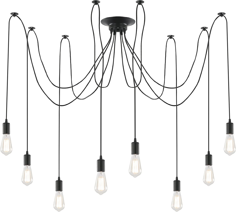 Light Society Tentacle 10-Light Chandelier Swag Pendant, Matte Black, Modern Industrial Lighting Fixture LS-C105
