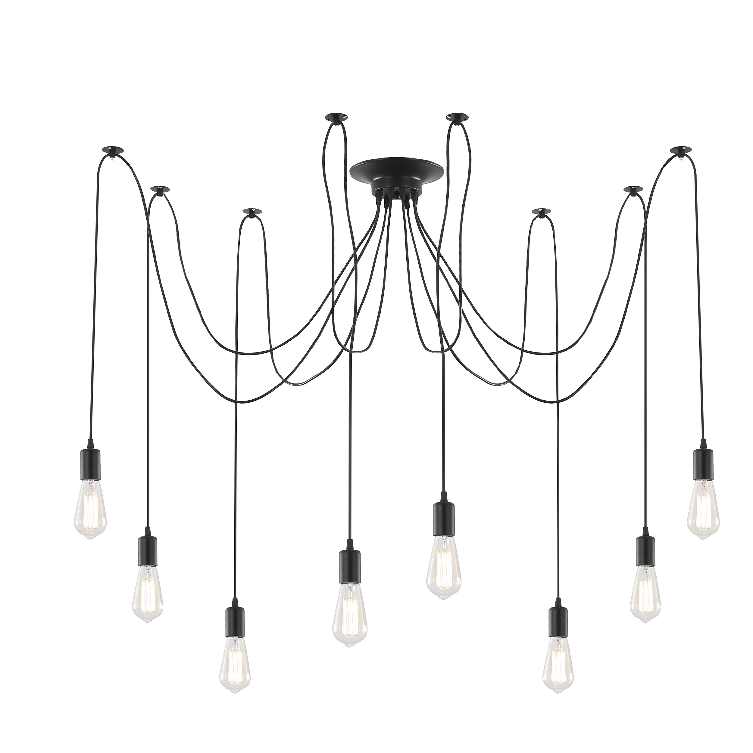 Light Society Tentacle 10-Light Chandelier Swag Pendant, Matte Black, Modern Industrial Lighting Fixture (LS-C105)