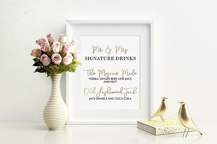 Amazoncom Signature Drinks Sign Mr And Mrs Drinks Custom Wedding