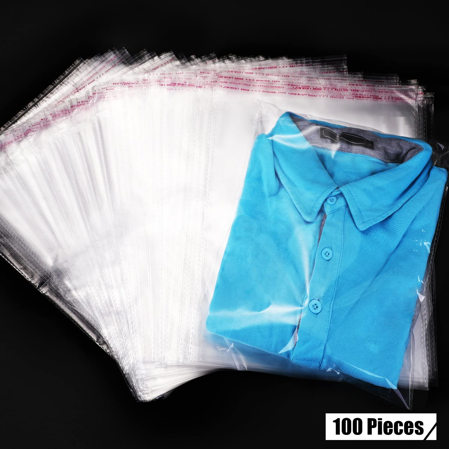 Clear Apparel Bags Self Seal Plastic Bags Adhesive Bags for T-shirt and Clothes (100 Pieces)