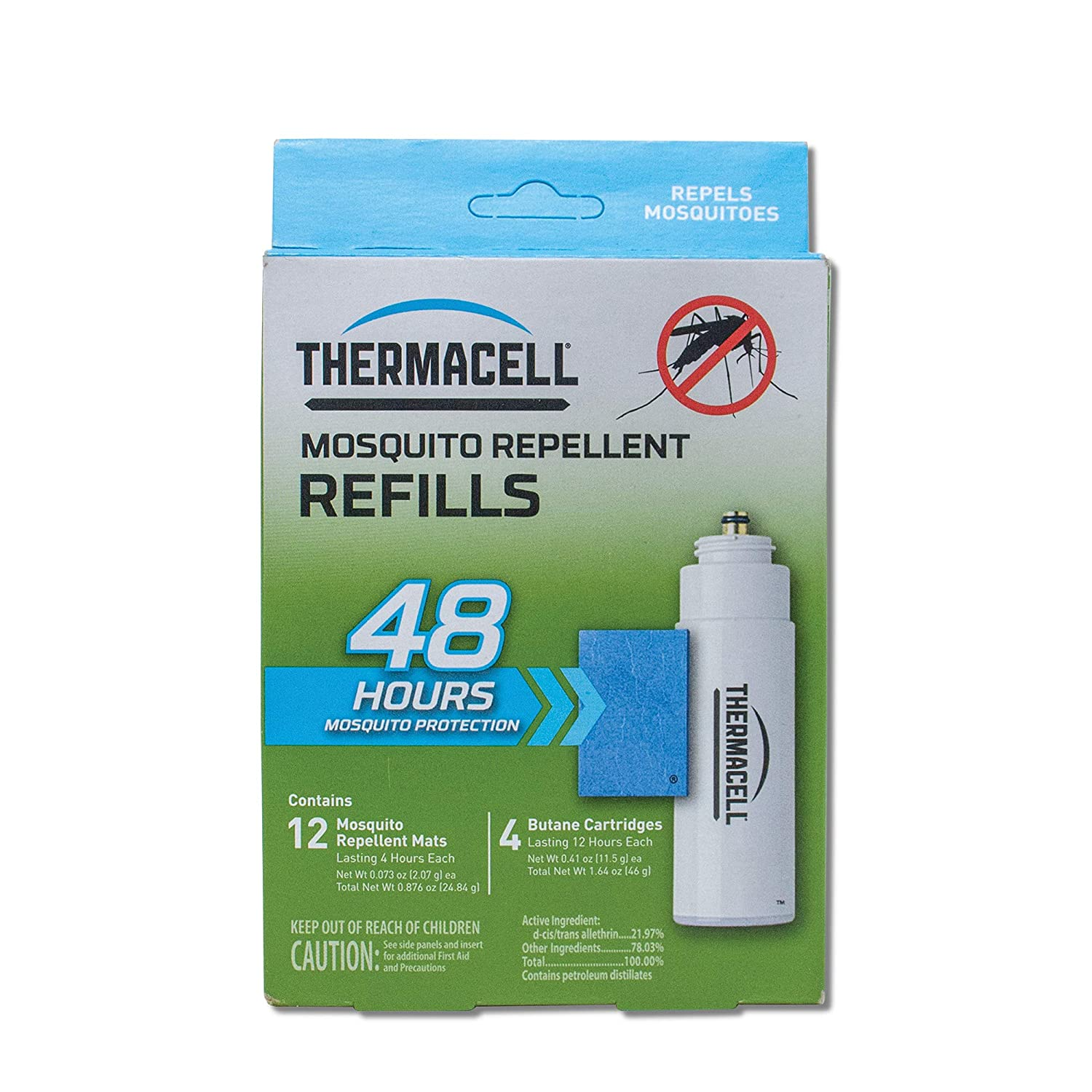 Thermacell Mosquito Repellent Refills, 48-Hour Pack; Contains 12 Repellent Mats, 4 Fuel Cartridges; Compatible with Any Fuel-Powered Thermacell Product; No Spray, Scent, Mess; 15 Ft Zone of Protection: Thermacell: Industrial & Scientific