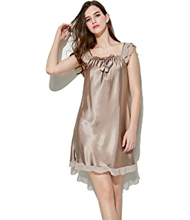 Tongzone Womens Silk Nightgown Satin Lace Full Slip Chemise