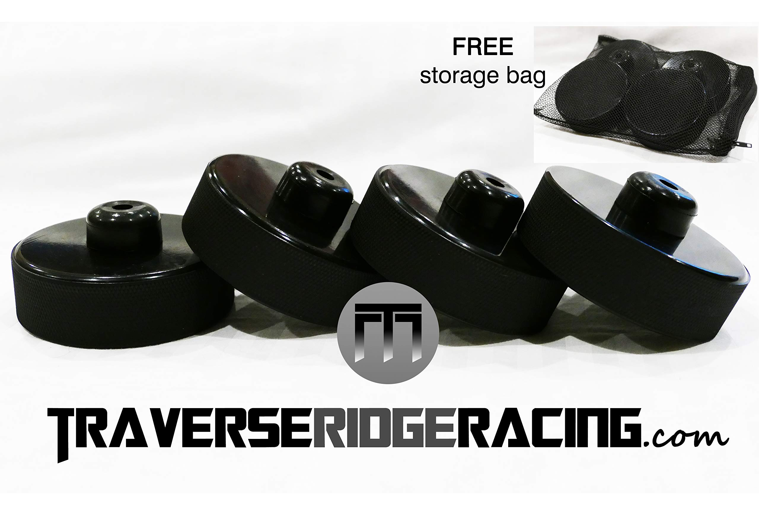 Traverse Ridge Racing The Original Tesla Jack Pad | Lift Point Adapter for Model S 3 X with Bag (4-Pack) | Fast Priority Mail Shipping | Improved Design - Metal Reinforced Upper, Low Profile by Traverse Ridge Racing