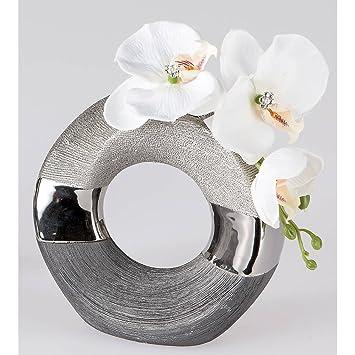 Amazon De Deko Vase Luxor Rund D Ca 18cm Silber Grau Keramik Formano