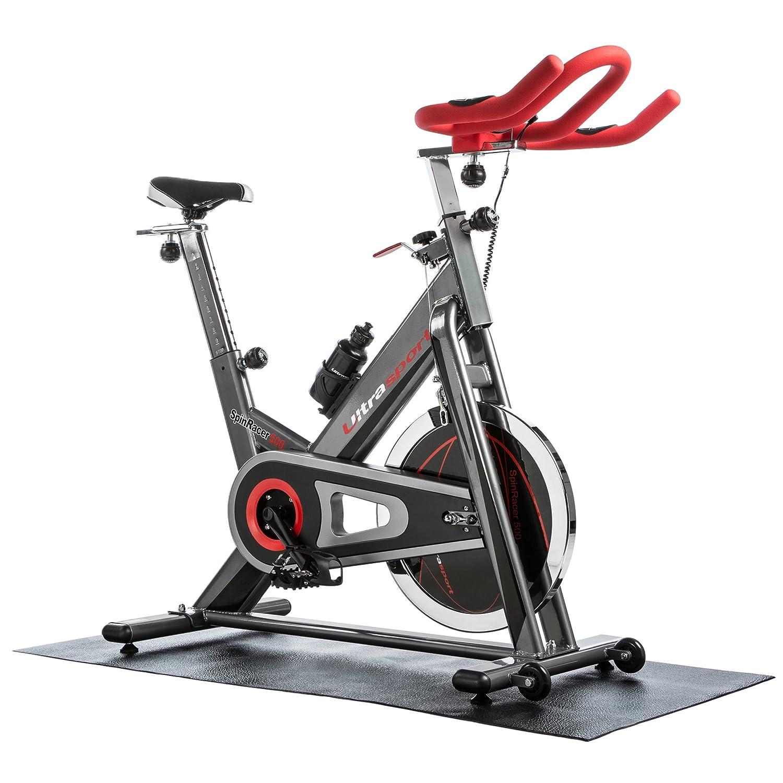 Ultrasport Bicicleta de fitness Premium Indoor SpinRacer 500 con sensores de pulso de mano, ergómetro con bidón y esterilla multifunción, bicicleta ...