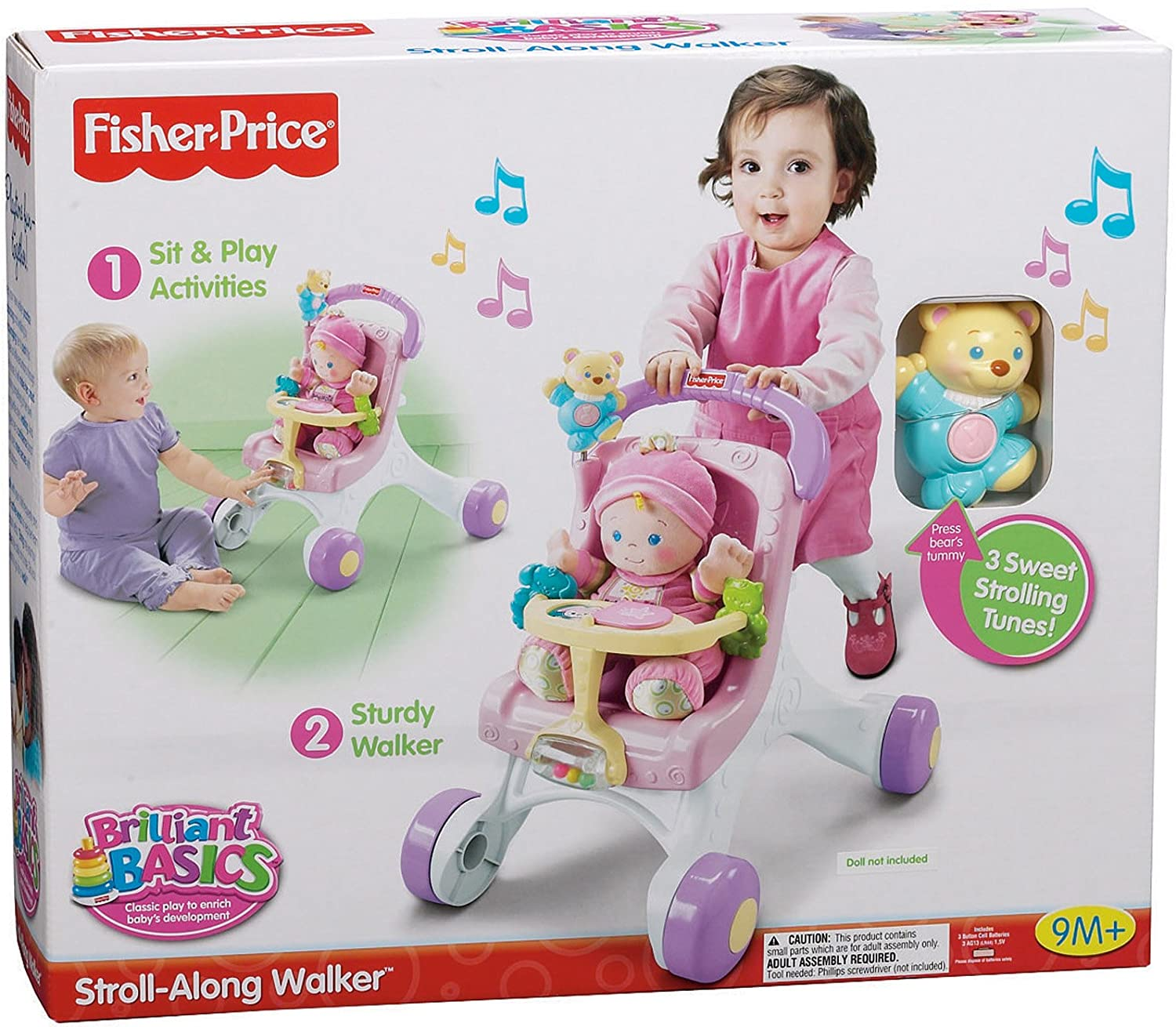 Amazon Fisher Price Brilliant Basics Stroll Along Walker