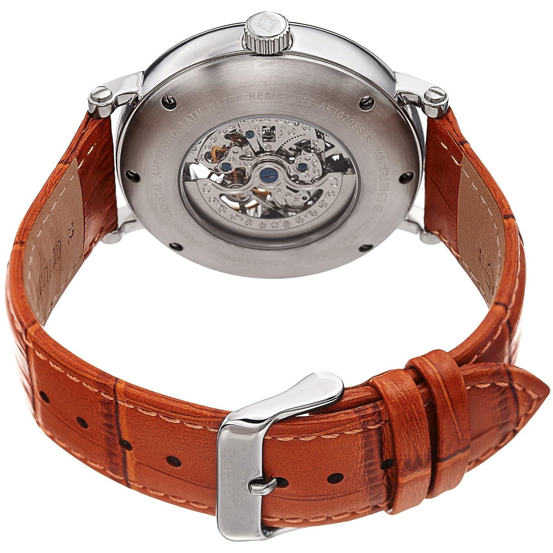 Akribos XXIV Skeleton - Reloj de pulsera mecánico para hombre, diseño de cocodrilo, correa de piel auténtica en relieve: Amazon.es: Relojes