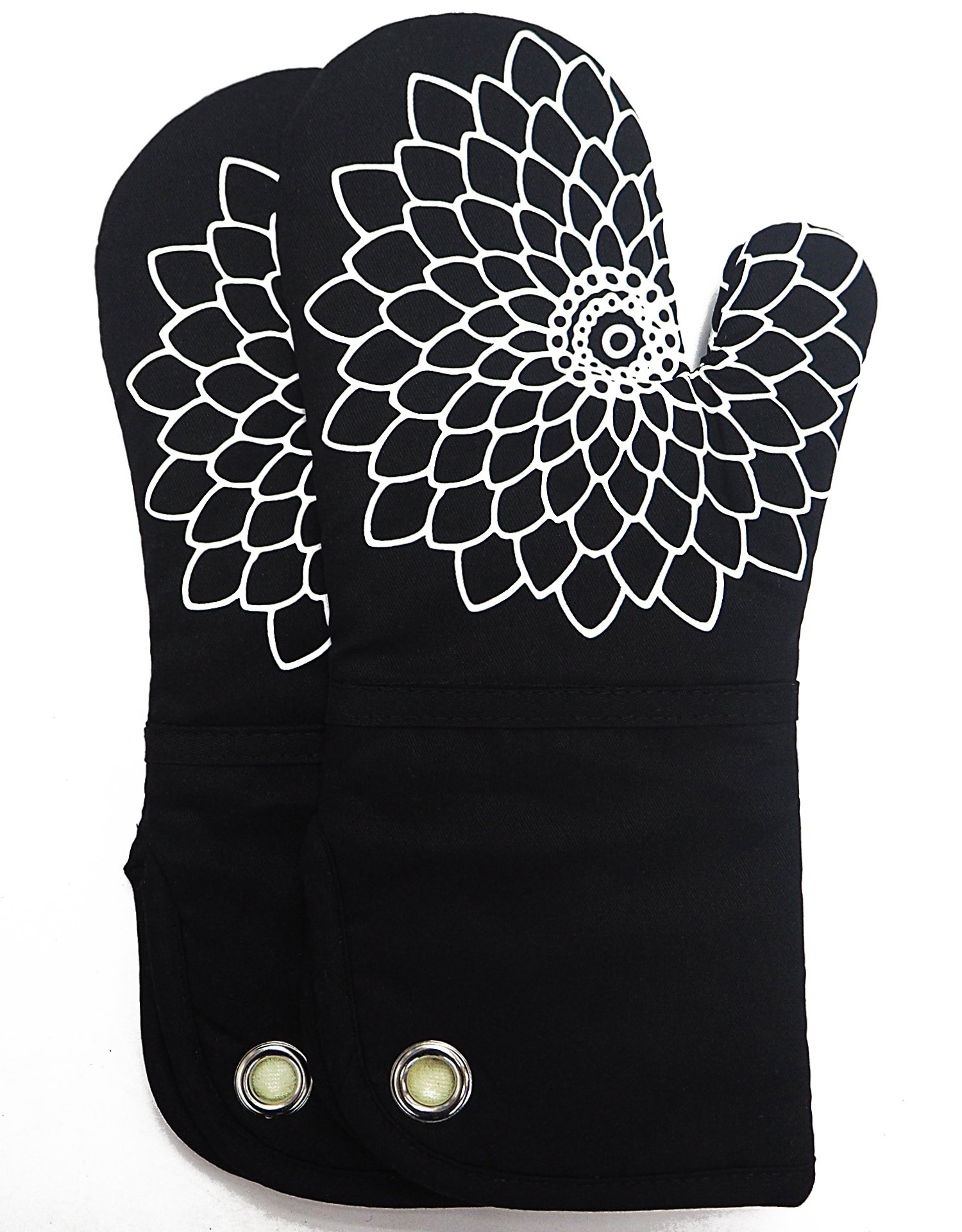 Silicone Printing Oven Mitts/Gloves 1 Pair, Heat Resistant to 500 Degree, Non-Slip for Home Kitchen Cooking Barbecue Microwave for Women/Men Machine Washable BBQ(Black)