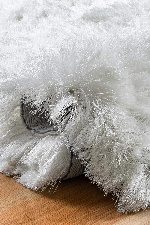 nuLOOM Latonia Silken Shag Runner Rug Pearl White 2 6 x 8