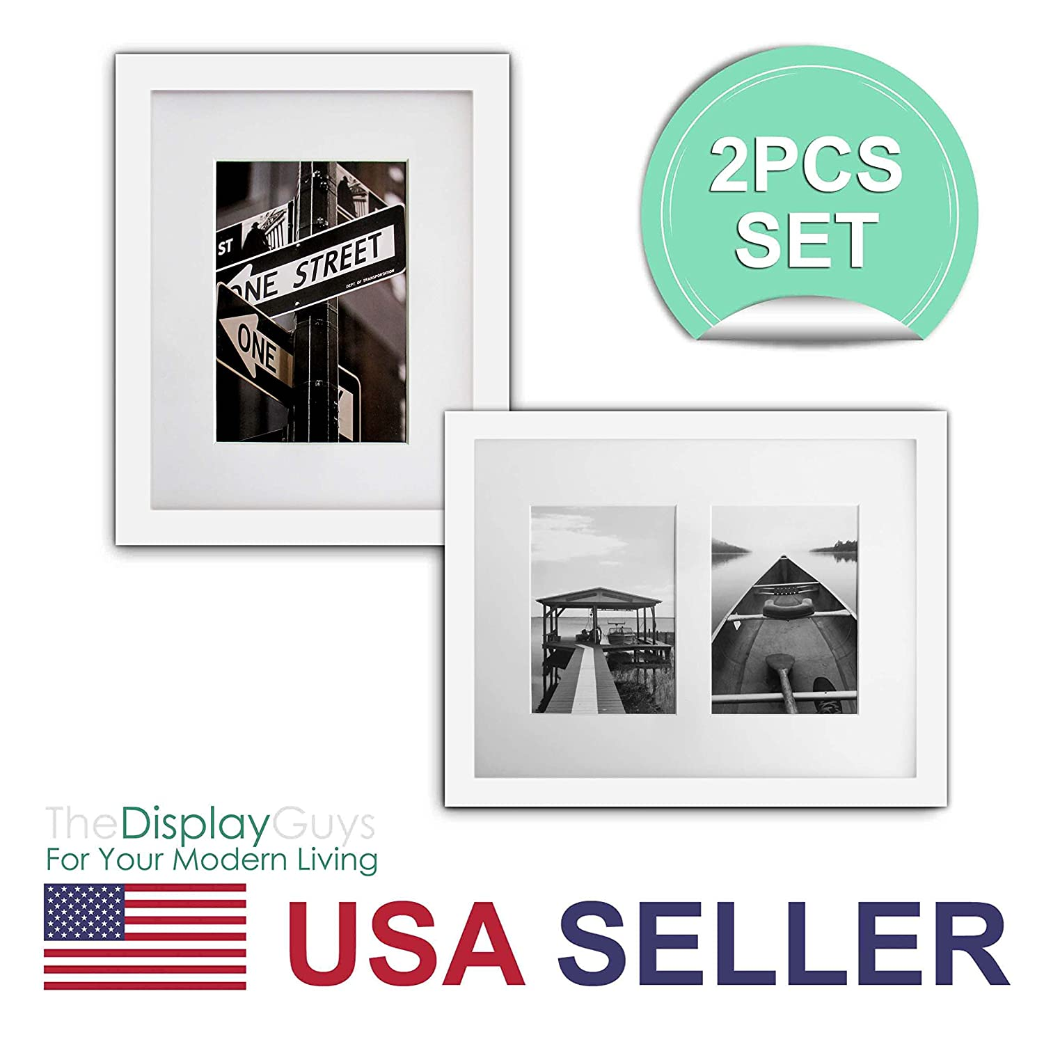 The Display Guys~ 2 Sets 11x14 inches White Picture Frame Made of Solid Pine Wood and Tempered Glass With White Core Mat Boards 2 for 8x10 Photos 2 for 2-5x7 Photos Black