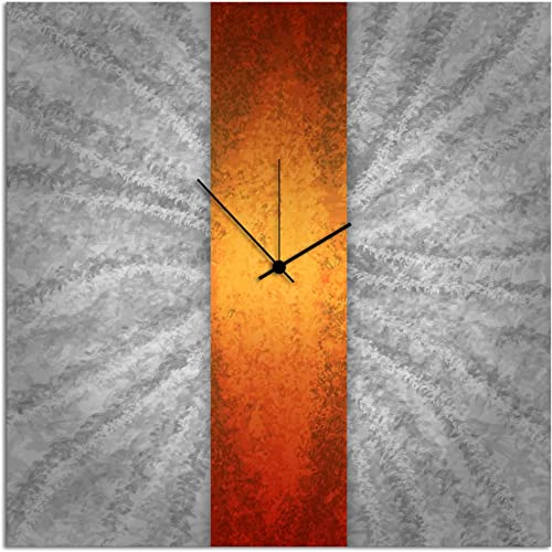 Metal Art Studio L0045 Orange Stripe Clock Contemporary Metal Clock