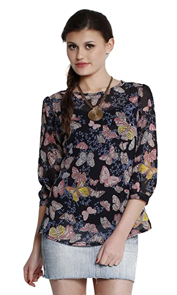 592d1367f1 The Gud Look Women s Poly Chiffon Printed Top (10001401-S Multi Small)