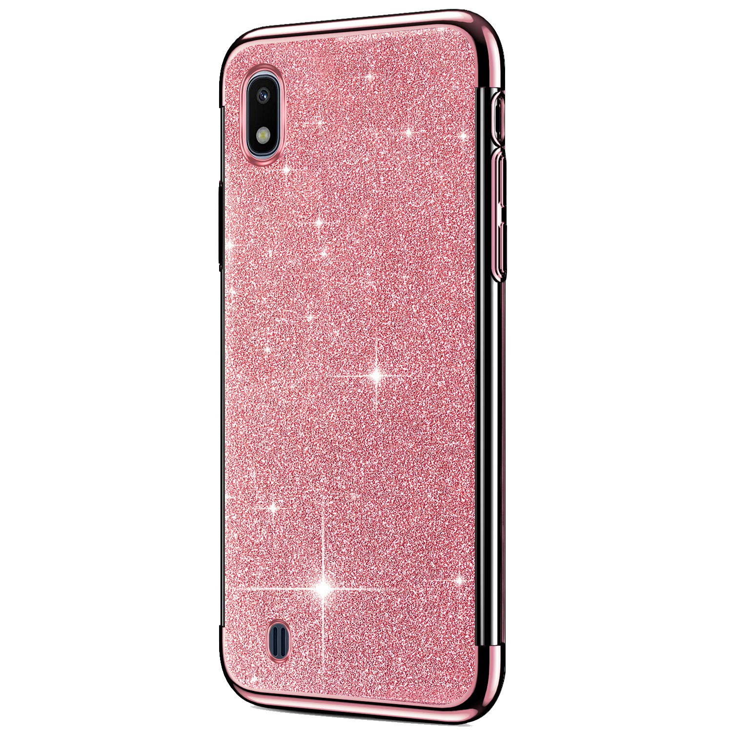 JAWSEU Case Glitter Compatible with Samsung Galaxy A10 Luxury Bling Sparkle Plating Bumper Design Soft Slim TPU Silicone Gel Rubber Case Ultra Thin Shockproof Full Protective Cover,Red