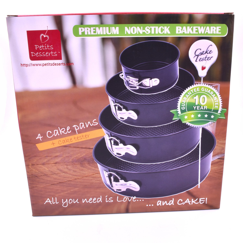 New Petits Desserts Springform Cake Pan Set of 4 plus Cake Tester