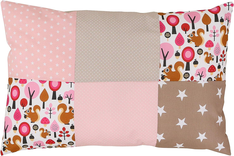 Funda de almohada para bebé de ULLENBOOM ® de 40x60 cm con beige ardilla (con cremallera; apta también para cojines decorativos; dibujo:patchwork)
