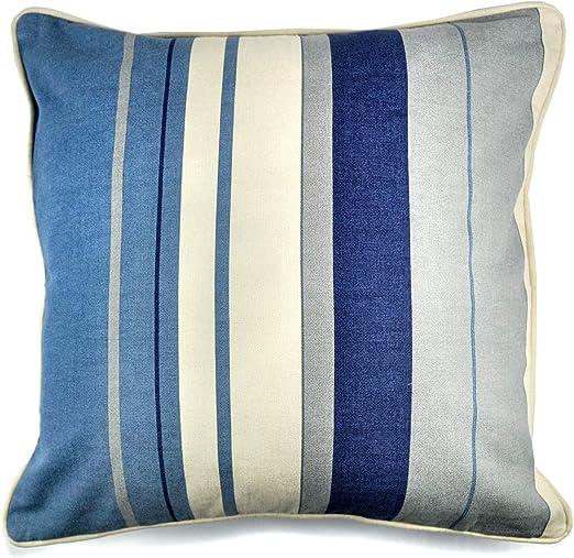 Cojín de Rayas Whitworth, 100% algodón Poliéster., Azul, Cushion (Filled): 43 x 43cm: Amazon.es: Hogar