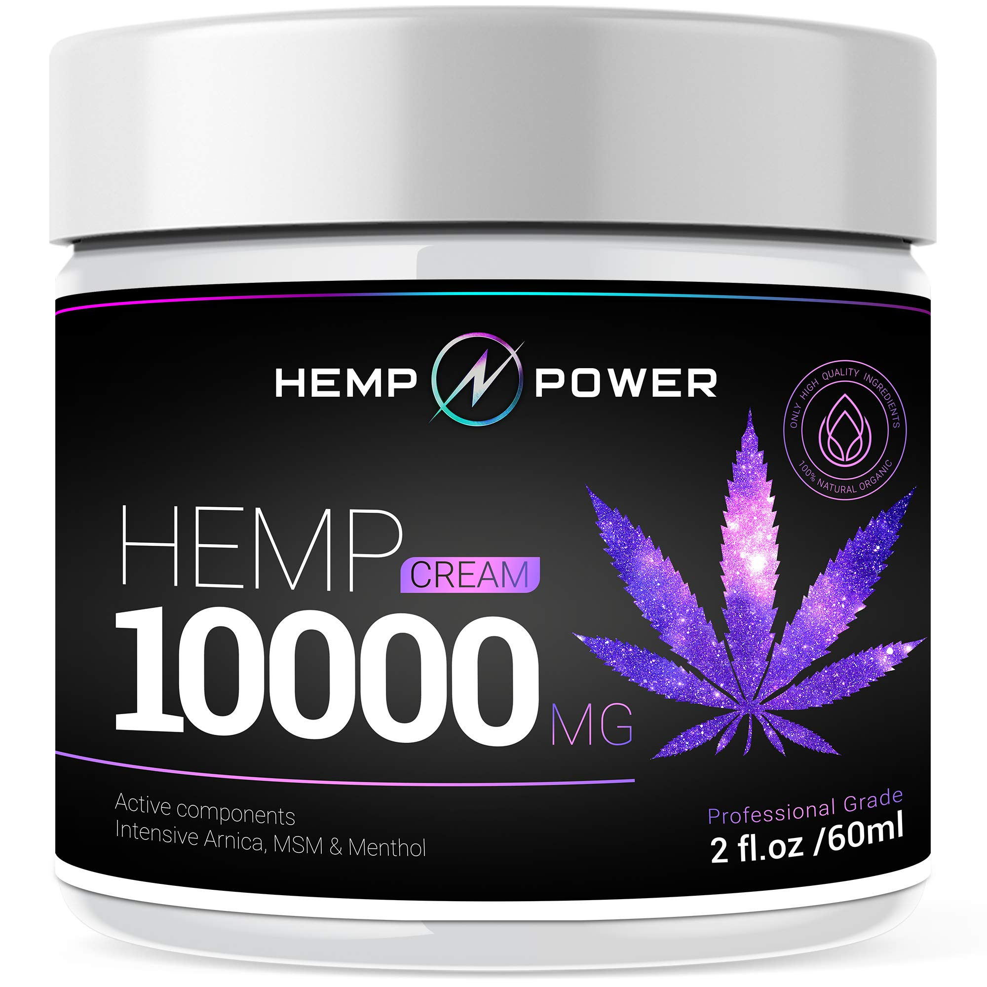 Hemp Power Pain Relief Cream - 10000MG - Relieves Muscle, Joint Pain, Lower Back Pain, Knees, and Fingers - Inflammation - Hemp Extract Remedy - Hemp Oil with MSM - Arnica - Turmeric by Hemp Power by HEMP POWER