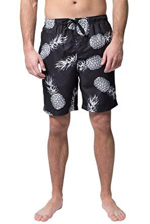 bf20689d7e4 Brooklyn Surf Men's Swim Trunks Volley Board Shorts Quick Dry Stretch,  Black Pineapple, Small