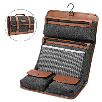 1655d62f86 Amazon.com   NiceEbag Hanging Toiletry Bag Travel Accessories Bag  Water-resistant Shaving Dopp Kit Foldable Leather Toiletry Organizer  Bathroom Shower Bag ...