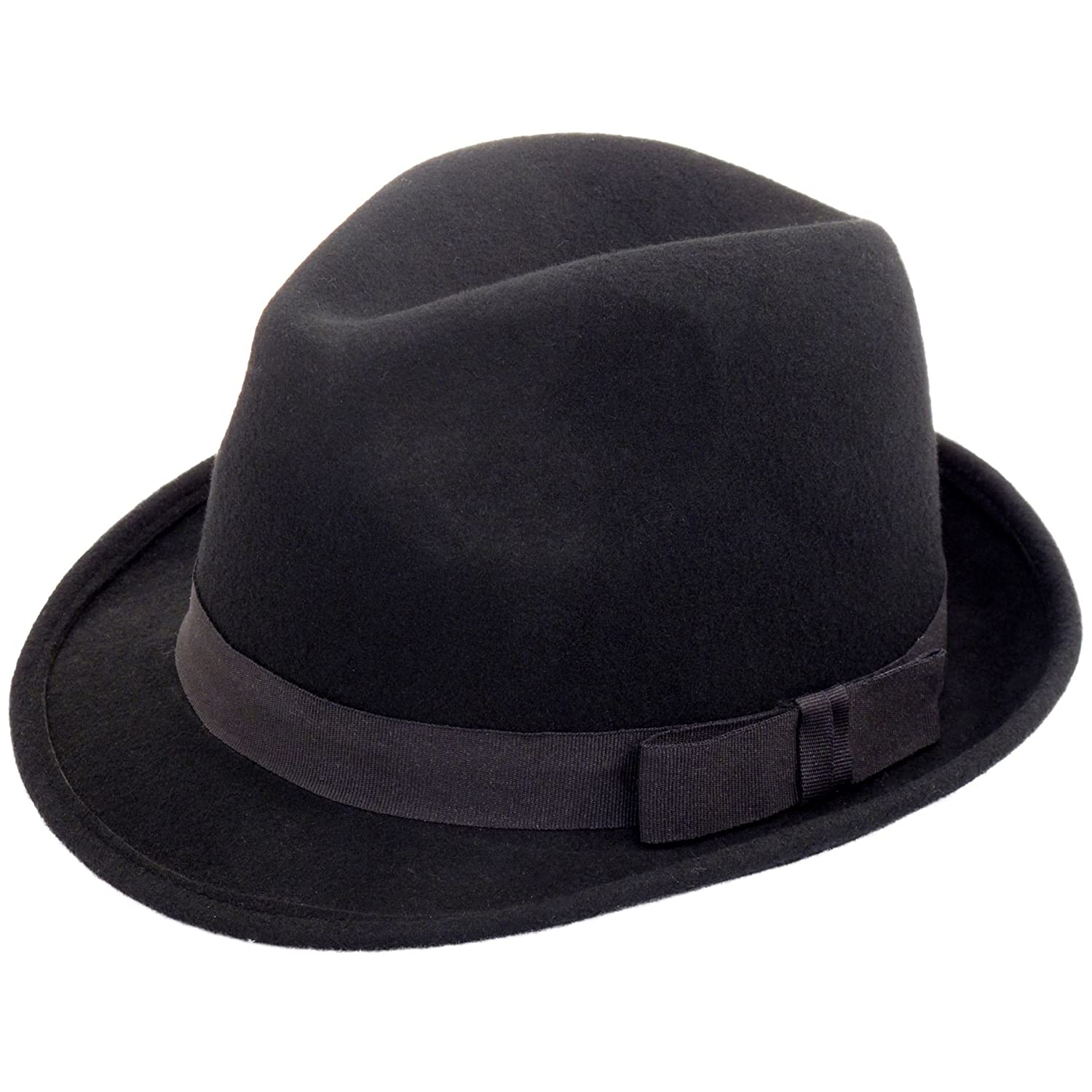 Classic black wool felt trilby hat with taffeta band 57cm)
