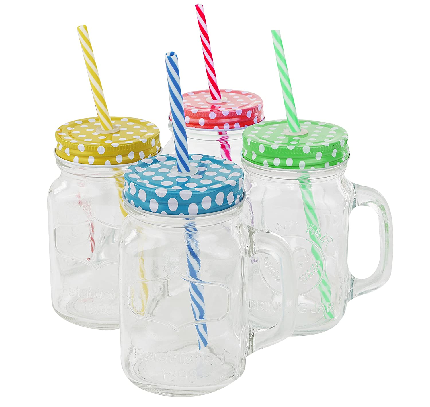 Golden Spoon Glass Drinking Jar with Handle, Stainless Steel Lid, Stainless Steel Colored Lid, Colored Straws, Dishwasher Safe, BPA Free, Set of 4 (16 oz/Pint)