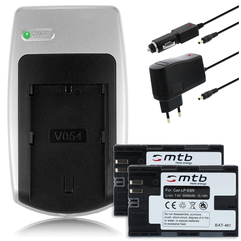 2040mAh - Consulte la lista de compatibilidad 2x Bater/ías Cargador para Canon LP-E6N