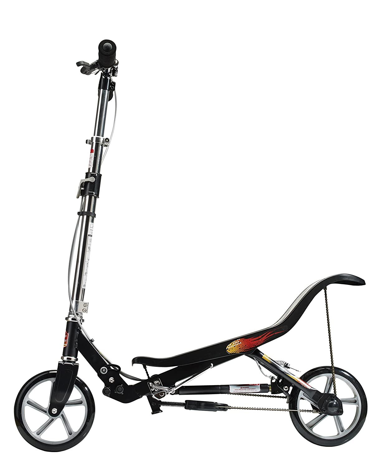 SpaceScooter Push Board Teeter Totter Kids Scooter with Brake, Air Suspension & Compact Fold - Black