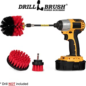 Outdoor - Cleaning Supplies - Drill Brush - Stiff Bristle Power Scrubber Kit with Extension for - Garden - Fire Pit - Patio - Deck - Floor Cleaner - Concrete - Stone - Brick - Spin Brush - Bird Bath