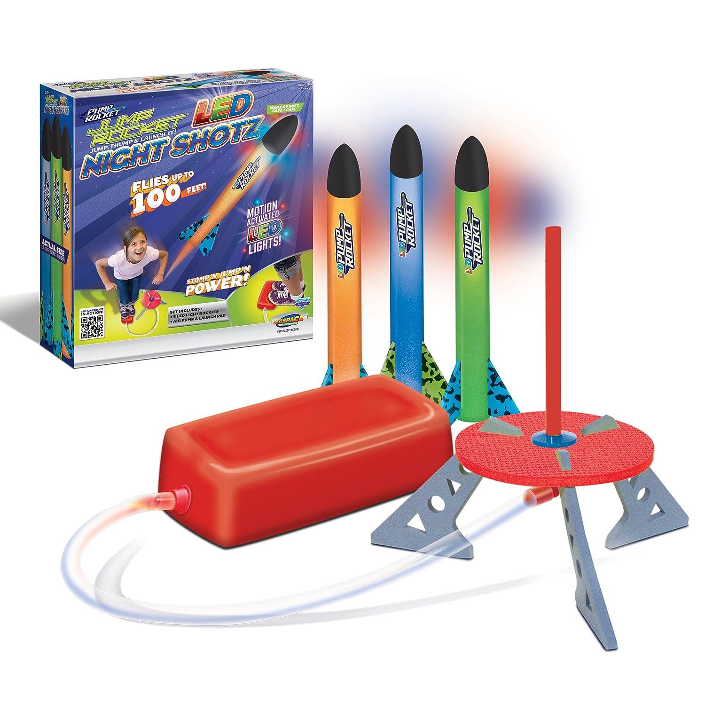 Geospace Jump Rocket LED Night Shotz Jump Pump Launcher Light Up Flying Foam Rockets