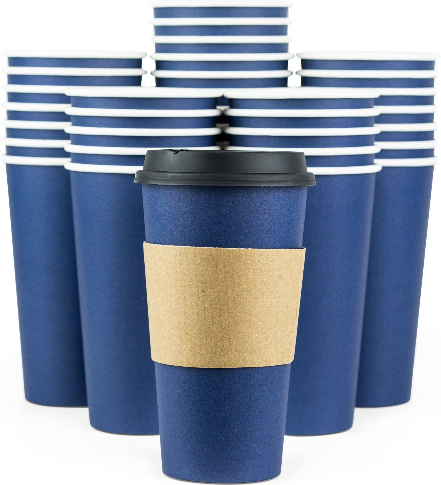 Glowcoast Disposable Coffee Cups With Lids - 20 oz To Go Coffee Cup (90 Pack). Large Travel Cups Hold Shape With Hot and Cold Drinks, No Leaks! Paper Cups with Insulated Sleeves Protect Fingers! by Glowcoast