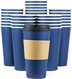 Glowcoast Disposable Coffee Cups With Lids - 20 oz To Go Coffee Cup (90 Pack). Large Travel Cups Hold Shape With Hot and Cold Drinks, No Leaks! Paper Cups with Insulated Sleeves Protect Fingers!