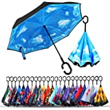 Double Layer Inverted Umbrellas Reverse Folding Umbrella Windproof UV Protection Big Straight Umbrella Inside Out Upside Down