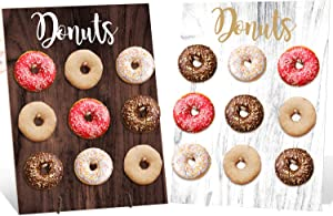 Donut Wall Party Decoration Doughnut Food Buffet Display Stand Dessert Table Pegboard Treats Holder Centerpieces Ideas Reusable Rustic Wooden Board Double Sided Black And White Set of 1
