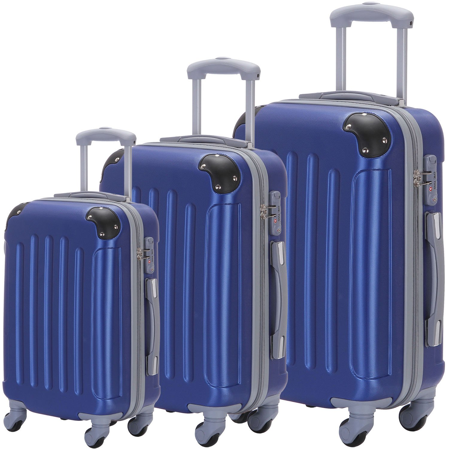 Suitcase 3-Piece ABS Luggage Set Trolley Spinner Hard-shell Durable, Sturdy Lightweight Suitcases by ERIC YIAN
