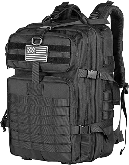 Black Waterproof Military Tactical Backpack 45L Large Assault Pack 3 Day Army Rucksacks Molle Bug Out Bag for Outdoor Hiking Camping