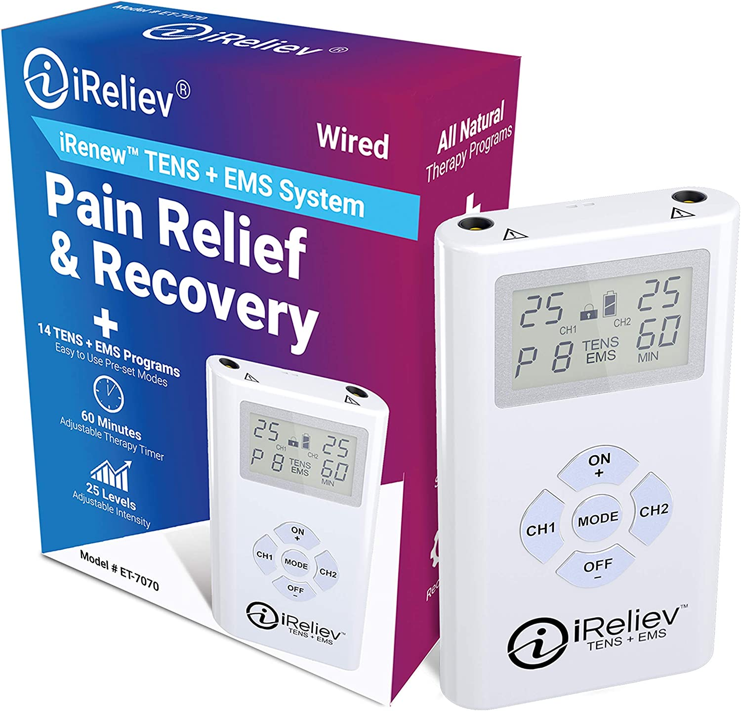 iReliev TENS + EMS Combination Unit Muscle Stimulator for Pain Relief & Arthritis & Muscle Strength - Treats Tired and Sore Muscles in Your Shoulders, Back, Ab's, Legs, Knee's and More: Health & Personal Care