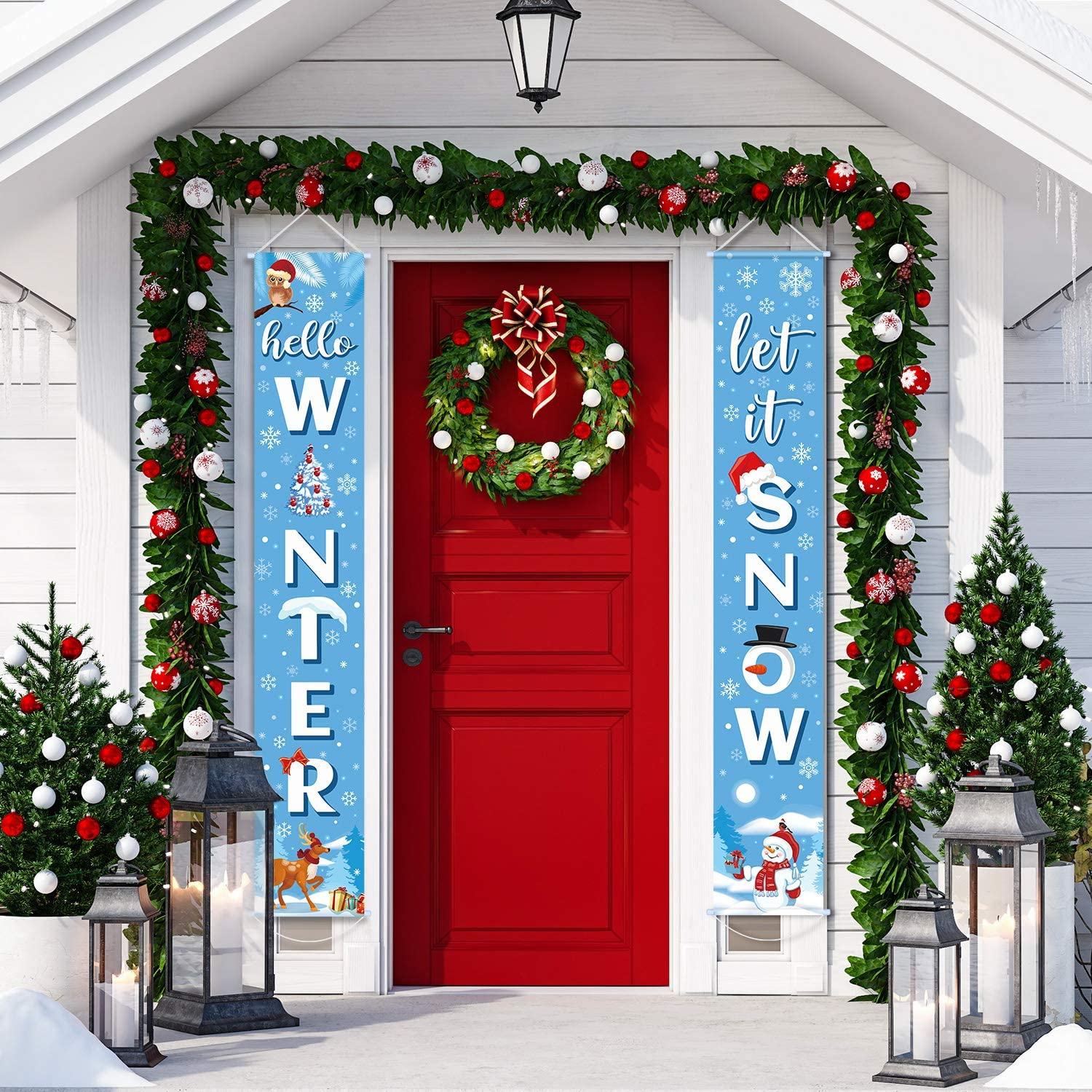Holiday Snowflake Banner Blue Let it Snow Banner Winter Welcome Porch Hanging Sign Winter Porch Banner for Home Wall Indoor Outdoor Holiday Party Christmas Winter Decor
