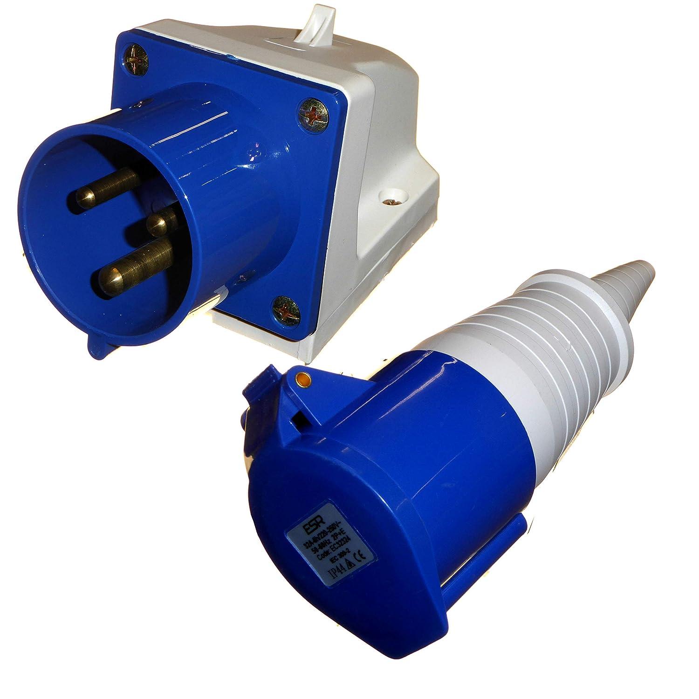 R/ésistant /à la pluie Int/érieur//ext/érieur Prise et coupleur 32 A 3 broches 230 V monophas/é 32 A 32 A Bleu industriel IEC309-2