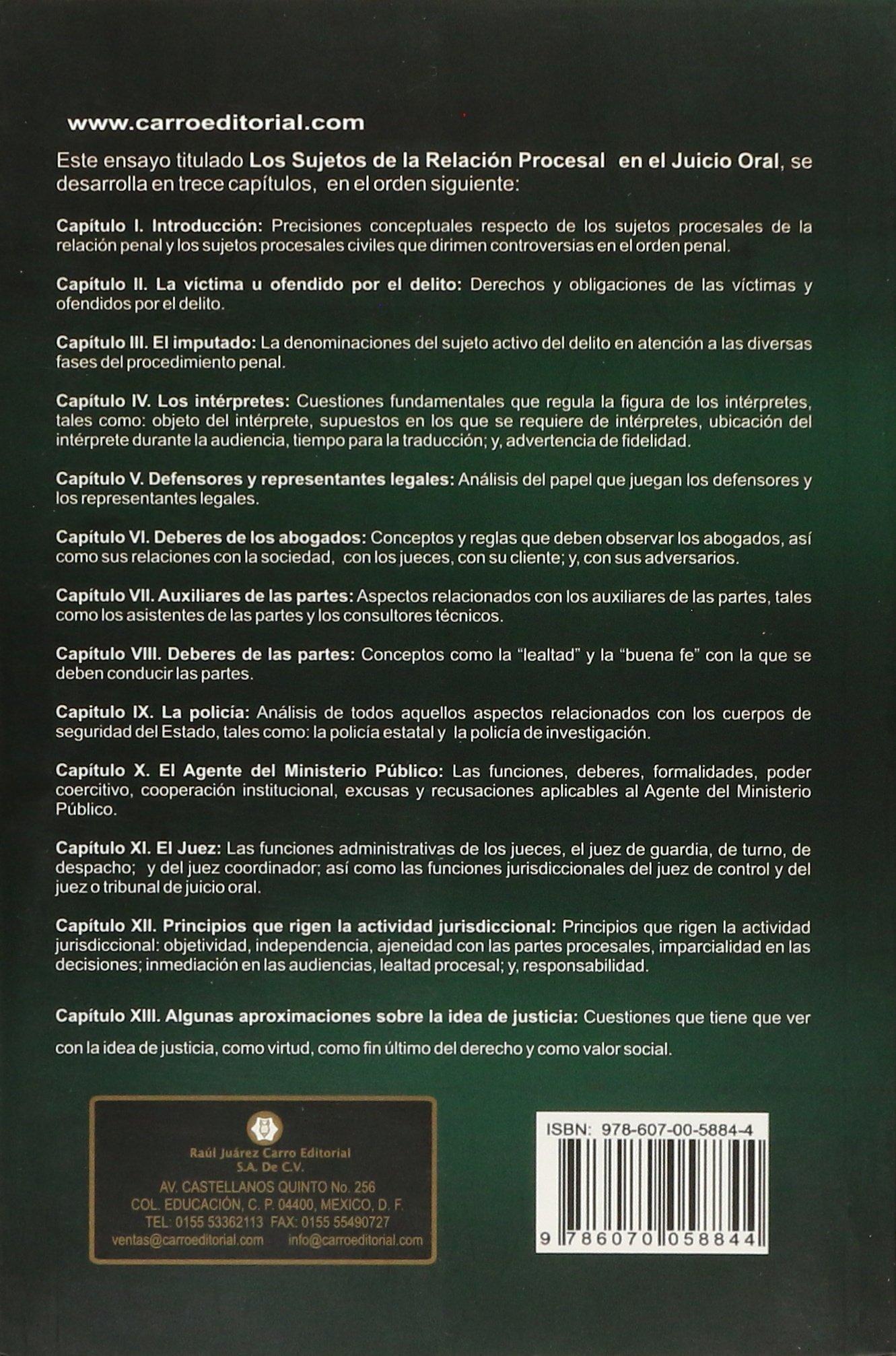 SUJETOS DE LA RELACION PROCESAL EN EL JUICIO ORAL, LOS: Varios: 9786070058844: Amazon.com: Books