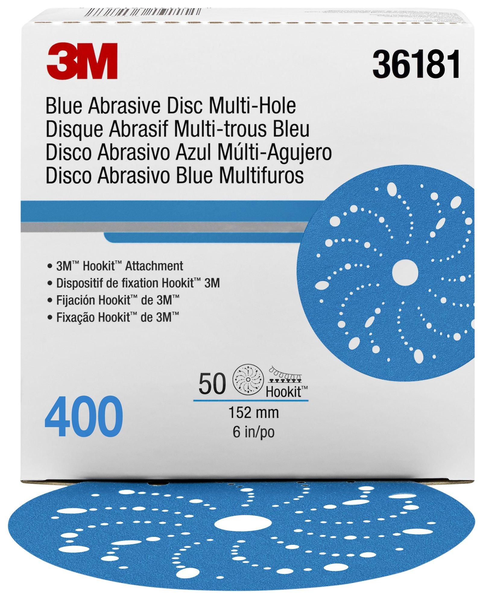 Hookit 36181 Blue Abrasive Disc (Multi-hole 6 in 400 grade 50 discs per box)