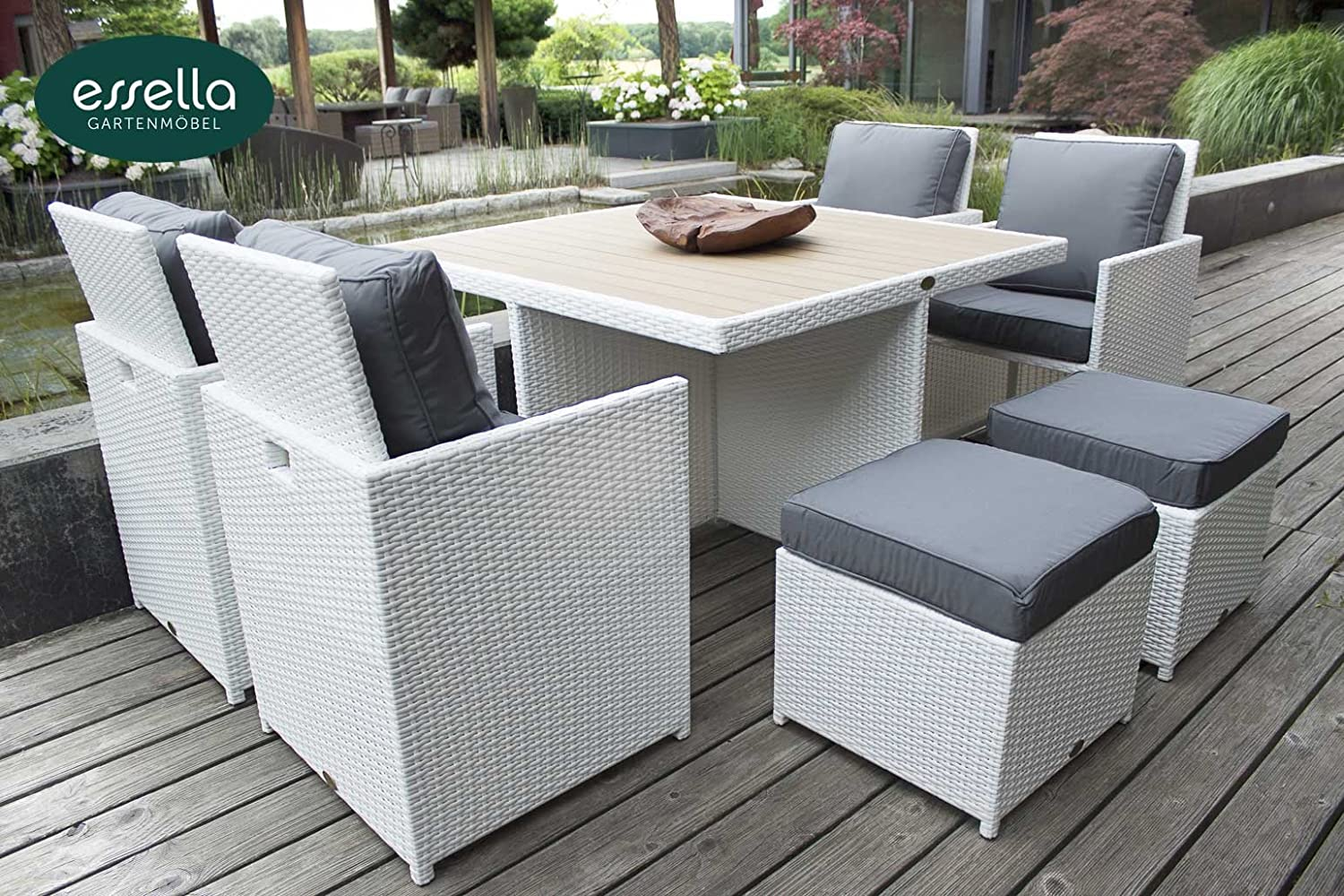 polyrattan sitzgruppe vienna 4 personen polywood flachgeflecht weiss gartenm bel. Black Bedroom Furniture Sets. Home Design Ideas