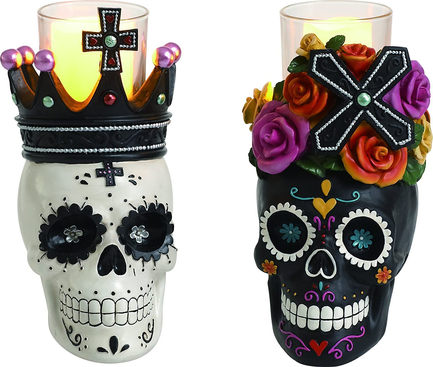 candle holders  my sugar skulls -  inches high by  inches x  inches each candleholder cast resinin brilliant colors and outstanding details day of the dead decor glasscandle