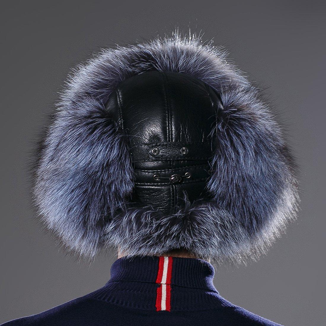 URSFUR Winter Mens Trapper Hat Real Leather Silver Fox Fur Russian Ushanka Cap by URSFUR (Image #4)
