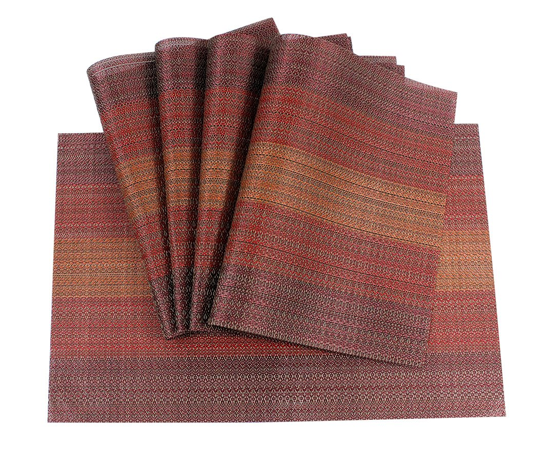 Ranvi Heat-Resistant Placemats Stain Resistant Anti-Skid Washable PVC Table Mats Woven Vinyl Placemats, Set of 5, Gradient Style, Brown Color