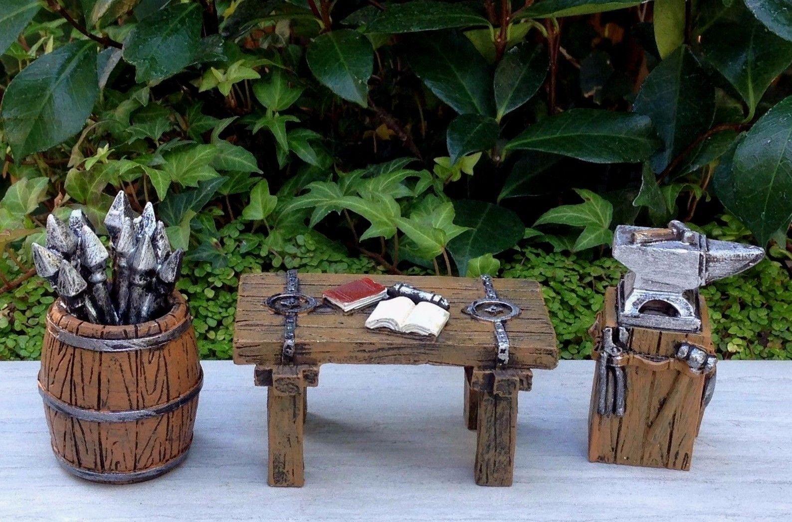 Miniature Dollhouse Fairy Garden Viking Village Set 3 Barrel Table