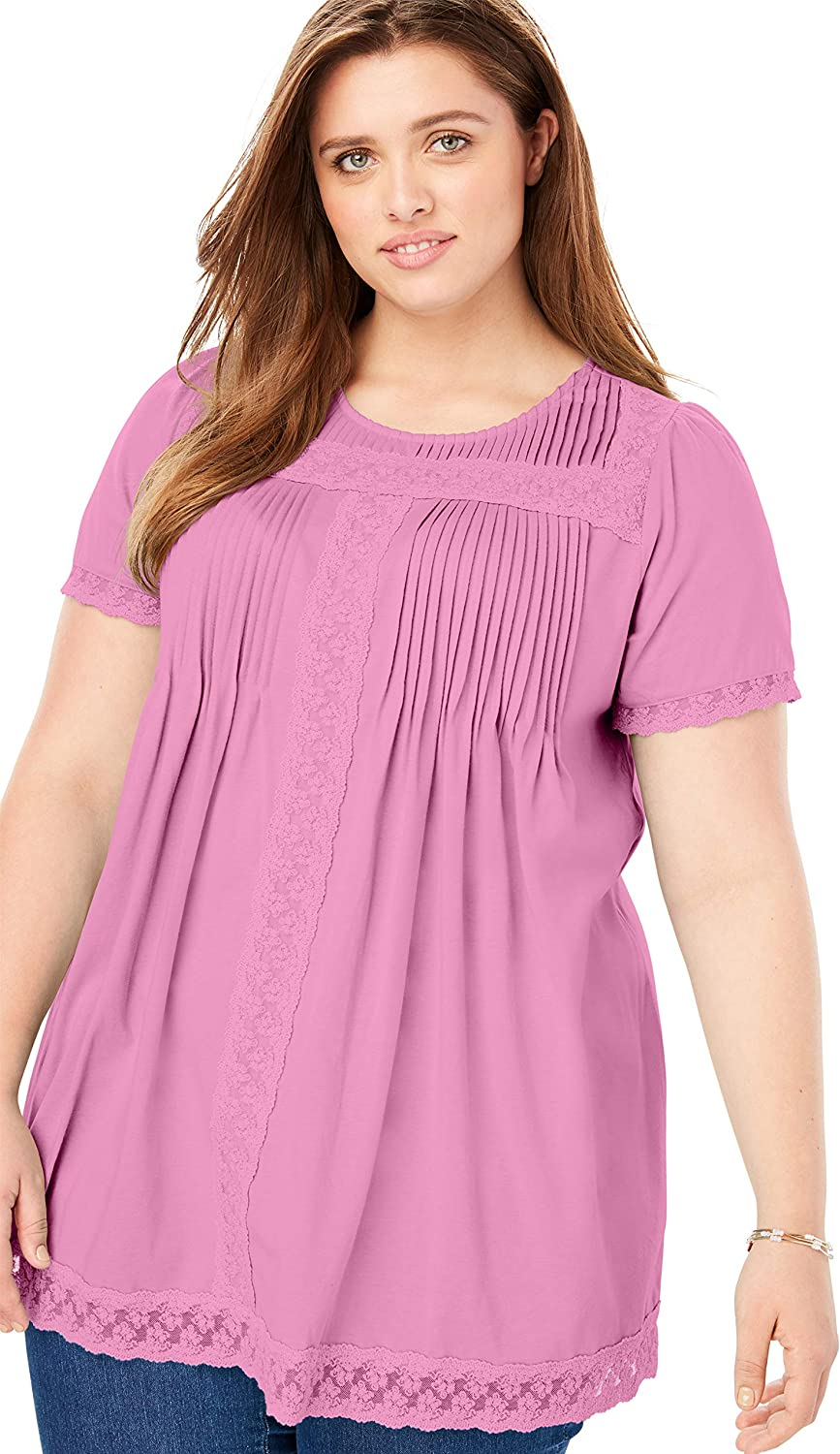 Woman Within Womens Plus Size Lace Trim Pintucked Tunic