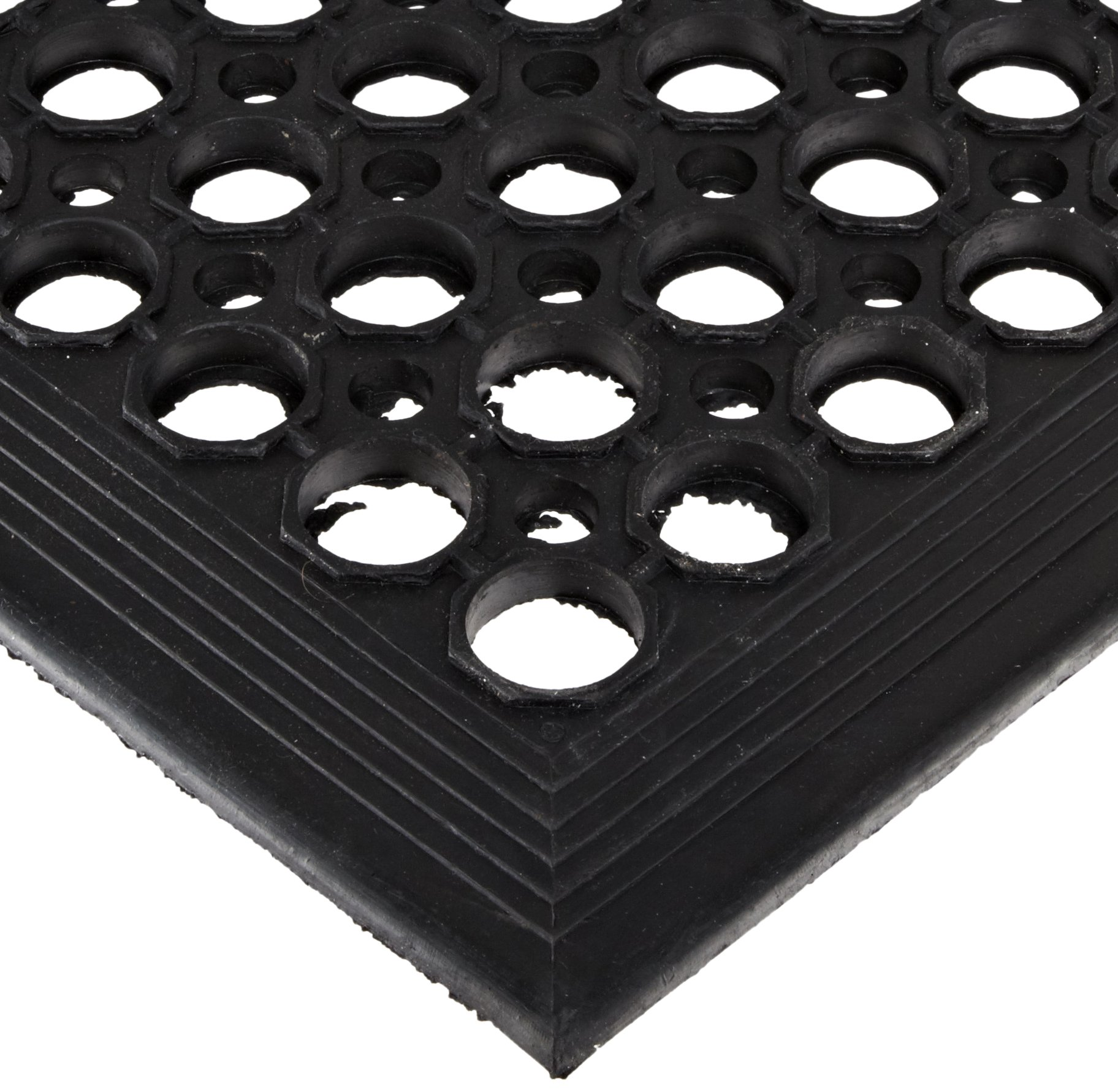 NoTrax 504 General-Purpose Rubber Beveled Drain-Step Anti-Fatigue/Anti-Slip Floor Mat, for Wet Areas, 3' Width x 5' Length x 1/2'' Thickness, Black by NoTrax Floor Matting (Image #1)